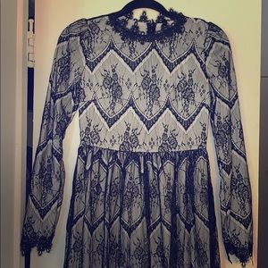 Gorgeous One-of-kind Black Lace Long-Sleeve Dress
